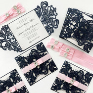 Pink & Navy Lasercut Invitation