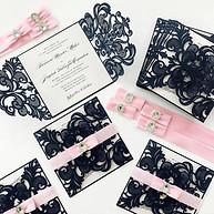 Pink & Navy Lasercut Invitation
