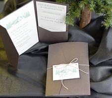 Woodgrain Pocket folder Invitation