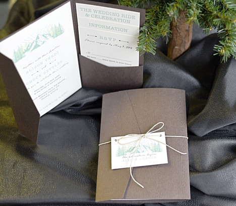 Woodgrain Pocket folder Invitation