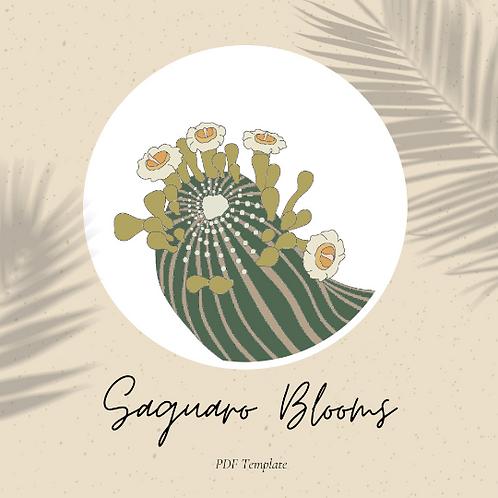 Saguaro Blooms - Embroidery Template PDF