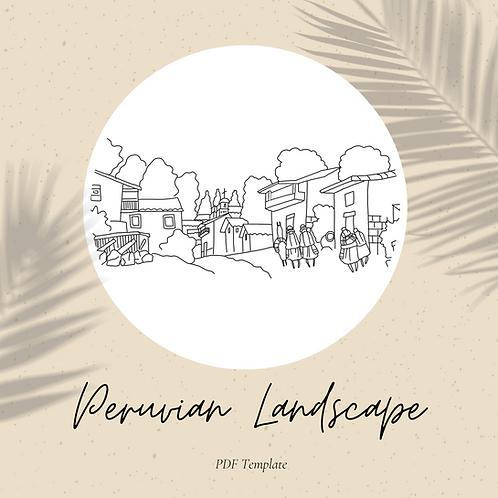 Peruvian Landscape Embroidery Template