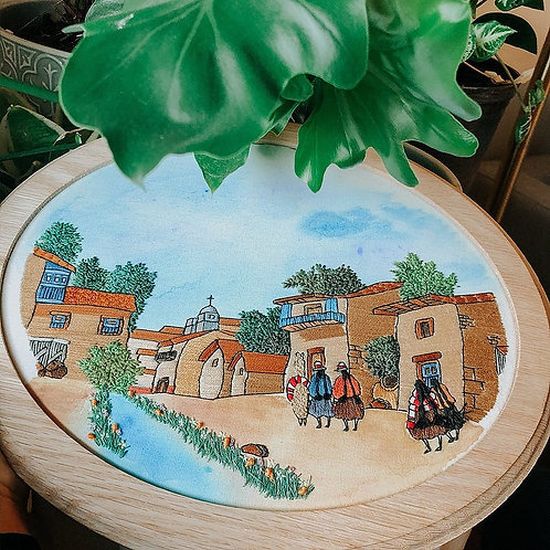 Custom Landscape Embroidery Hoop