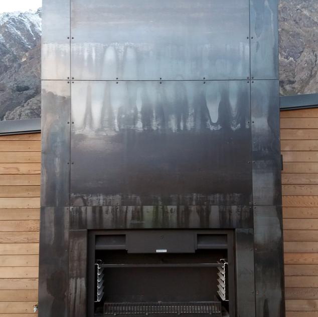Corten steel outdoor fireplace