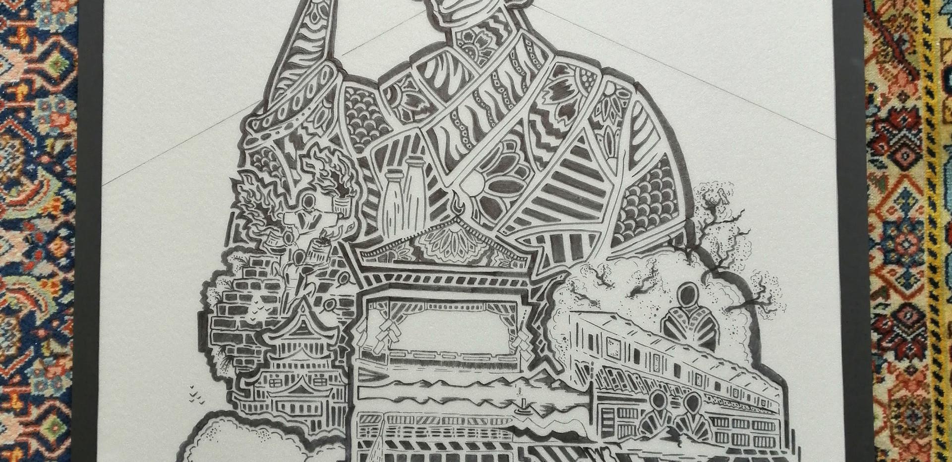 Geisha (Drawing on Plastic)