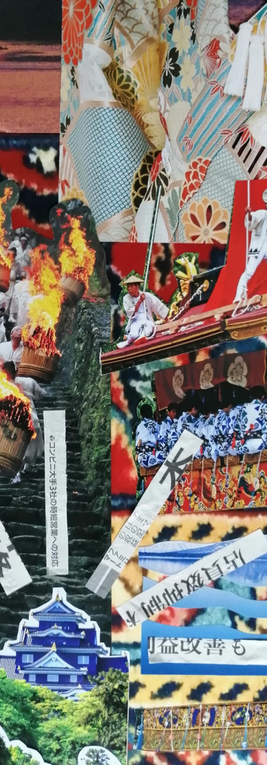 close up temples and men with torches on stairs.
