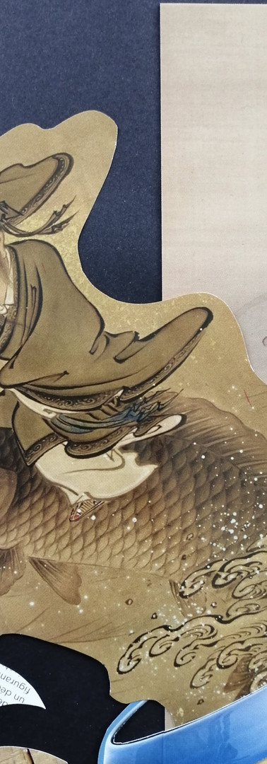 The rider of the small fish, jumping out of the vase/ being knocked over by the giant fish.