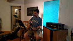 Brian recording guitar parts