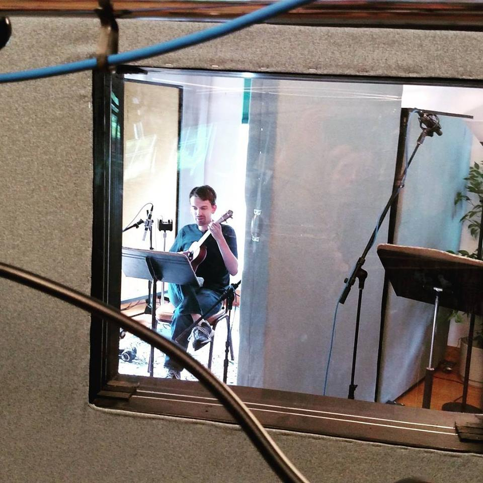 Brian recording ukulele parts