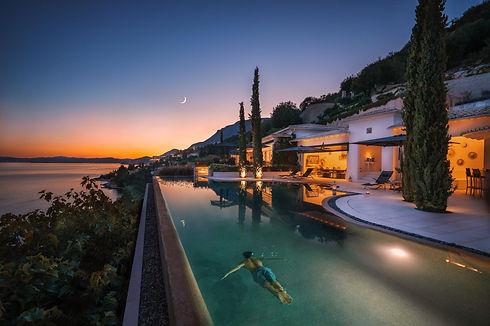 Ultima Corfu Outdoor Pool Late Night Swi
