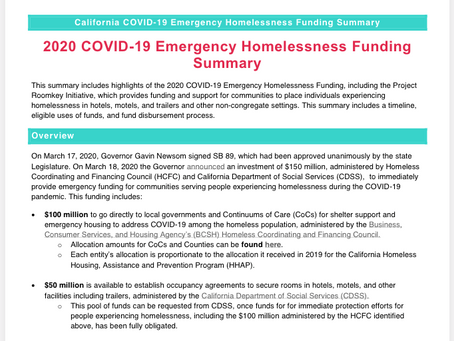 California COVID-19 Emergency Homelessness Funding Summary