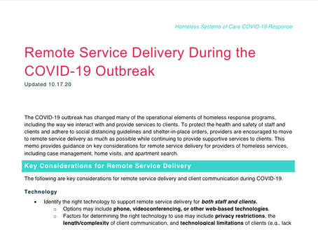 Remote Service Delivery During the COVID-19 Outbreak