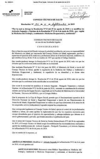 Resolución N°36 del 4 de septiembre de 2019