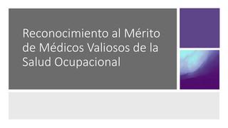 Médicos Valiosos de la Salud Ocupacional de Panamá 2020