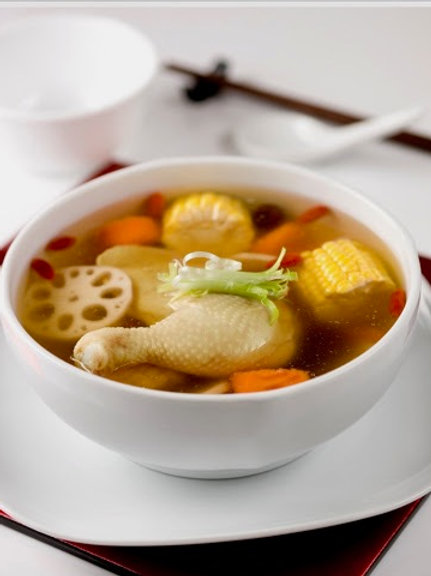 Double-boiled Chicken Consommé with Cordyceps flowers (虫草花炖鸡汤)