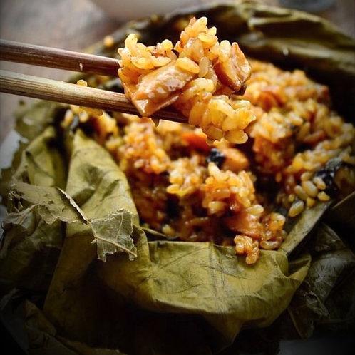 Steamed Fragrance Rice in Lotus Leaves (腊味荷叶饭)