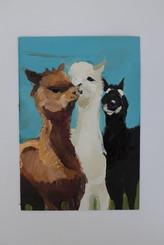 llamas, painted by artist  Sylvia Fernandez