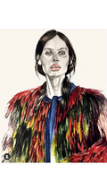 Illustration  for our cardinal cardigan, by artist Berthe Allegre