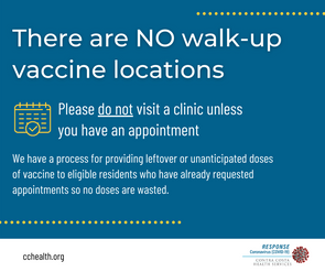 There are no walk-up vaccine locations