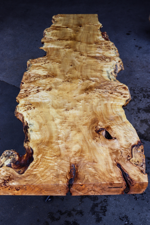 Tischplatte Pappel Maser aus einem Stück