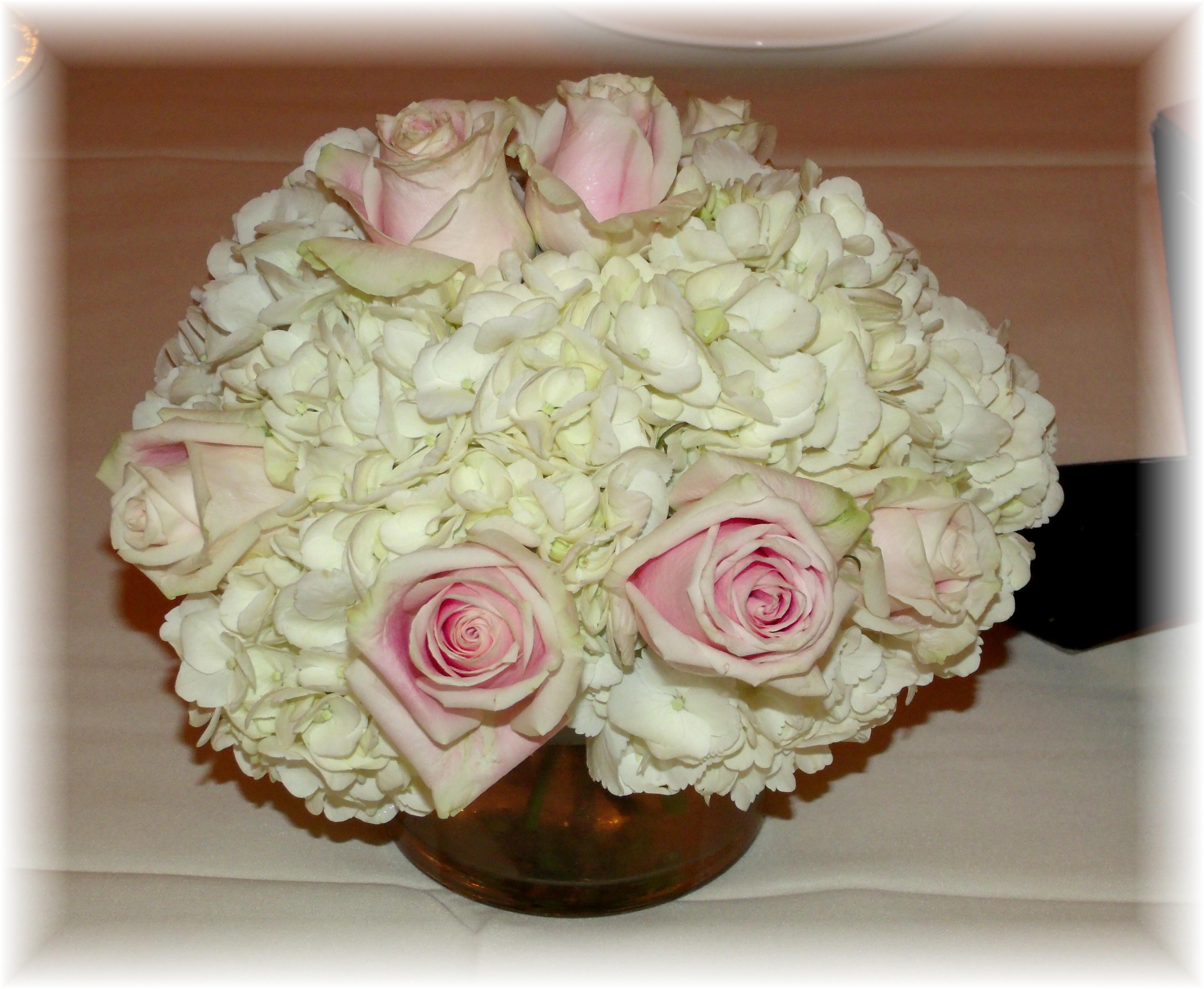 Hydrangea & Rose Centerpiece
