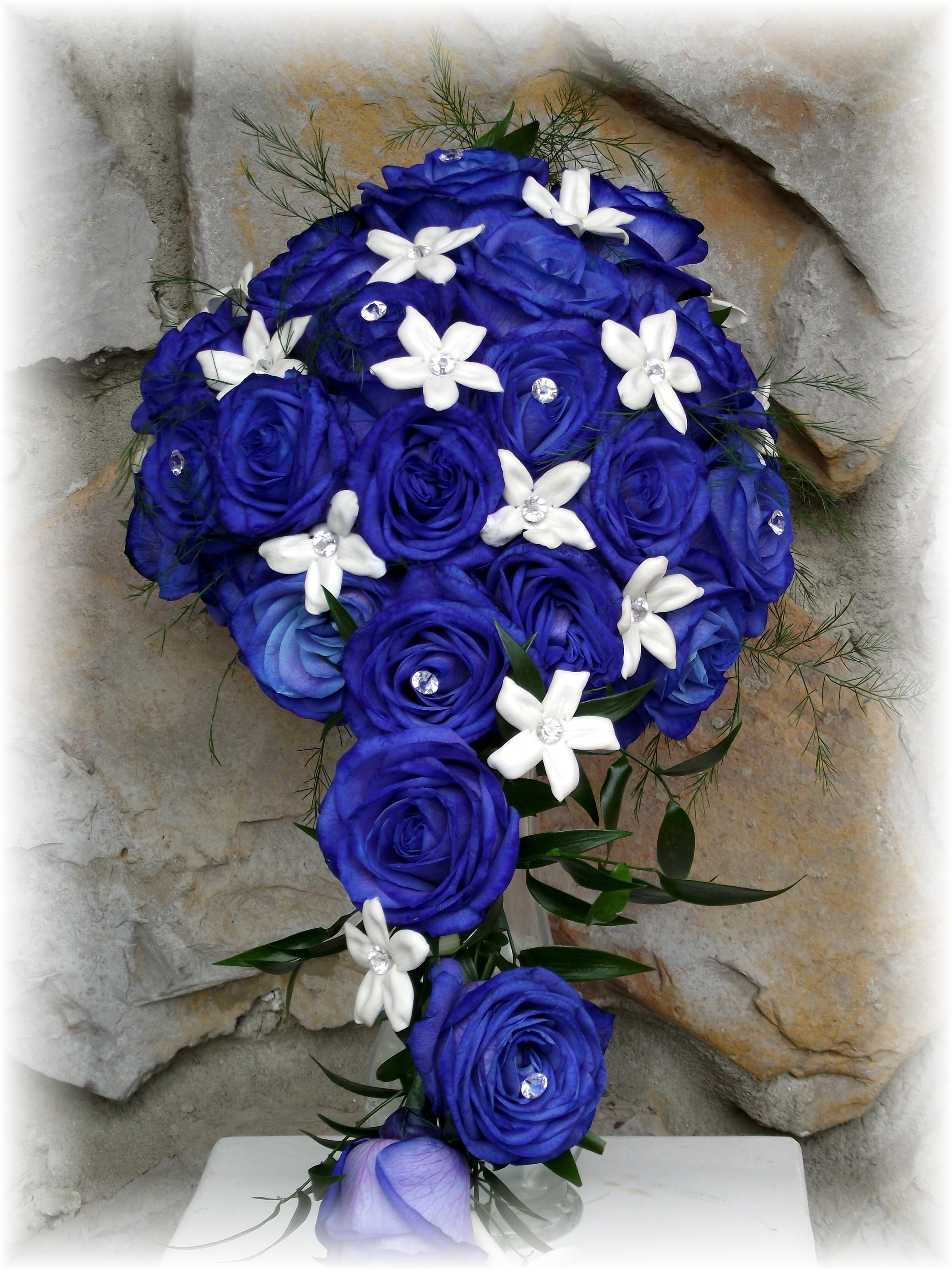 Blue roses cascading bouquet