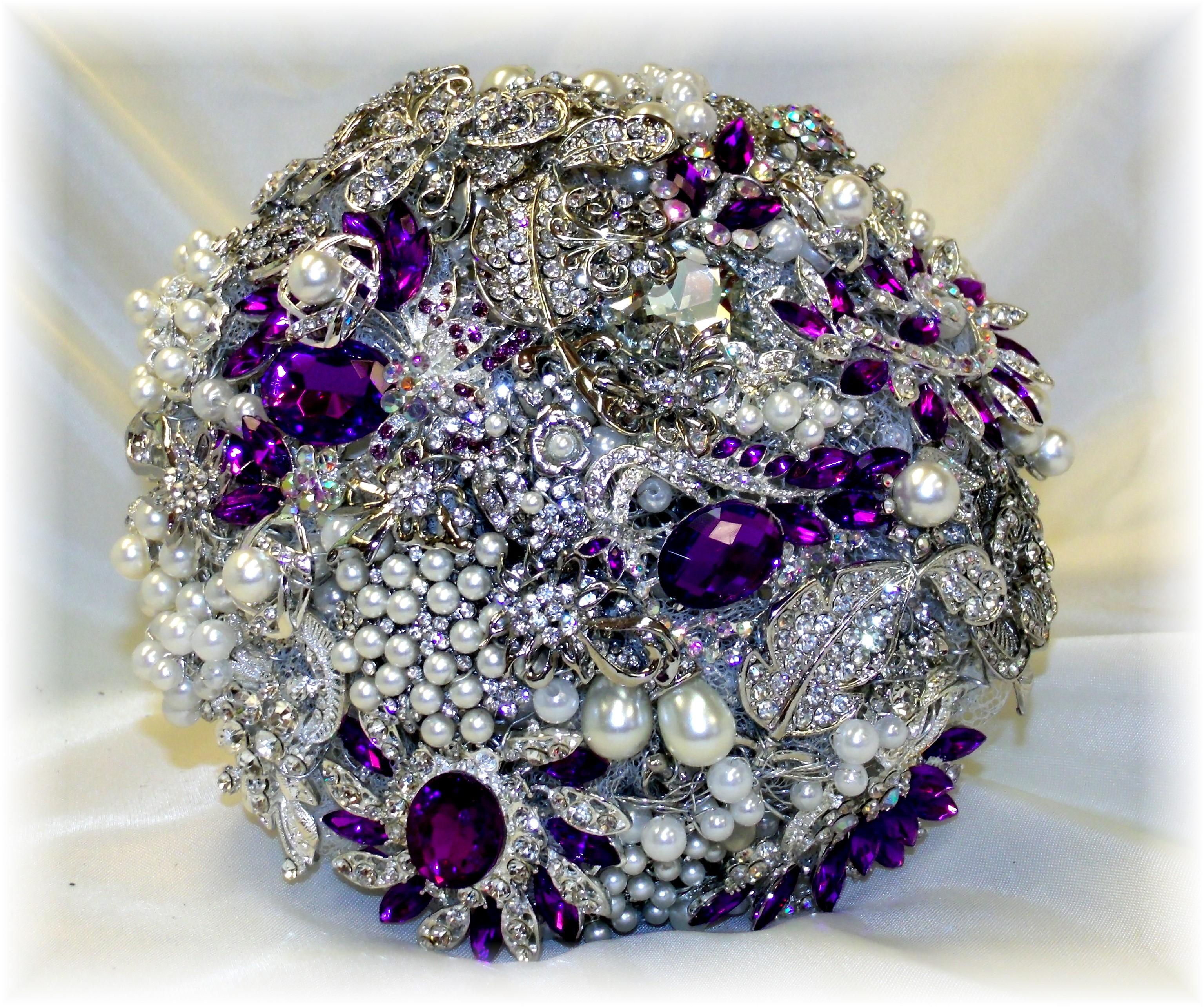 Silver & Purple Brooch Bouquet