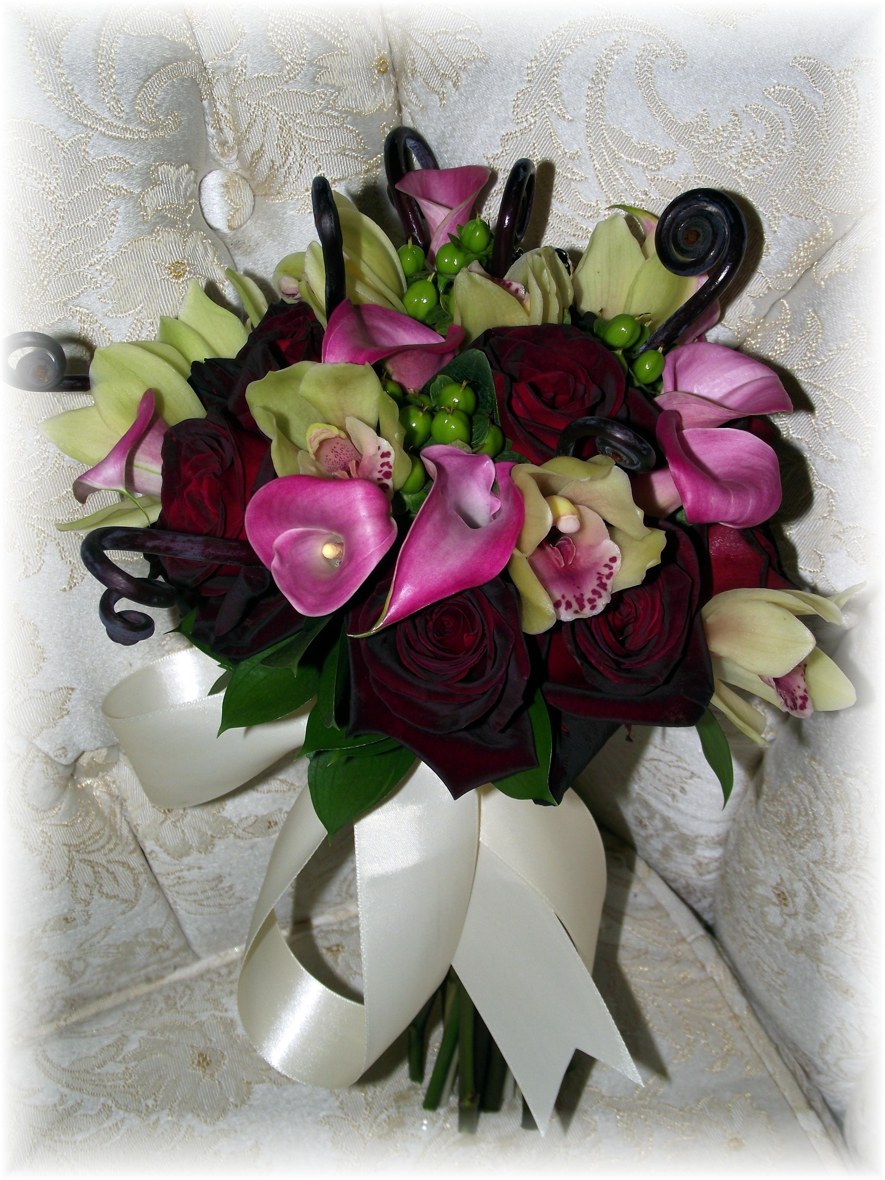 Orchids, calla lilies & rose Bouquet