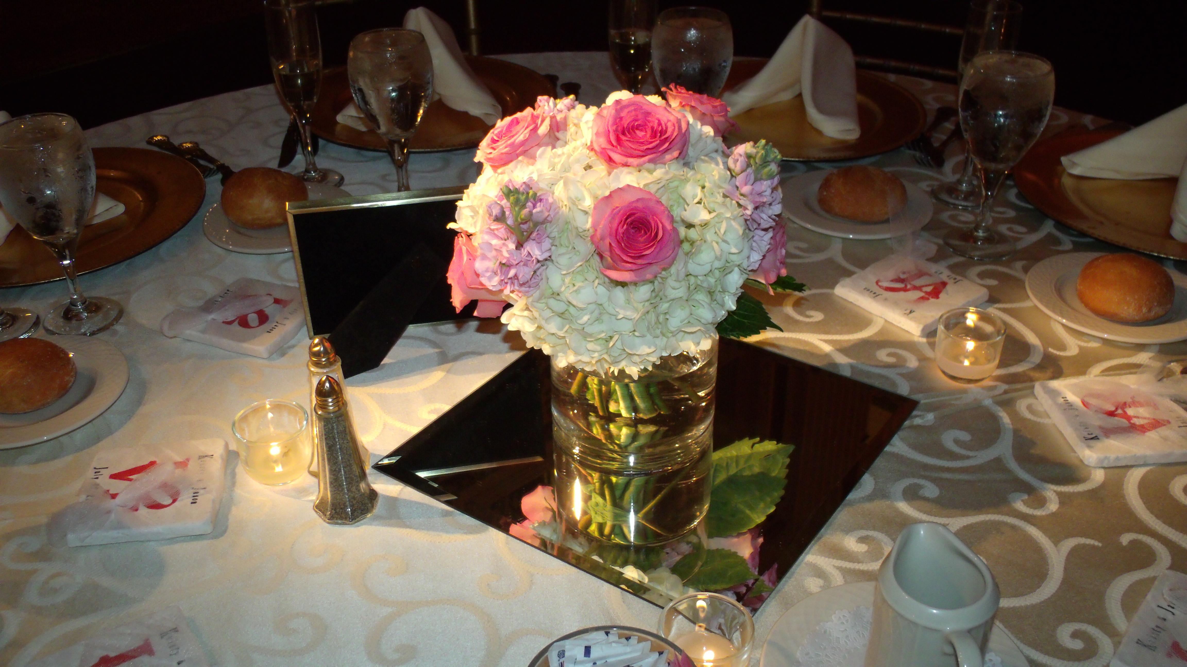 Centerpiece hydrangea, roses & stock