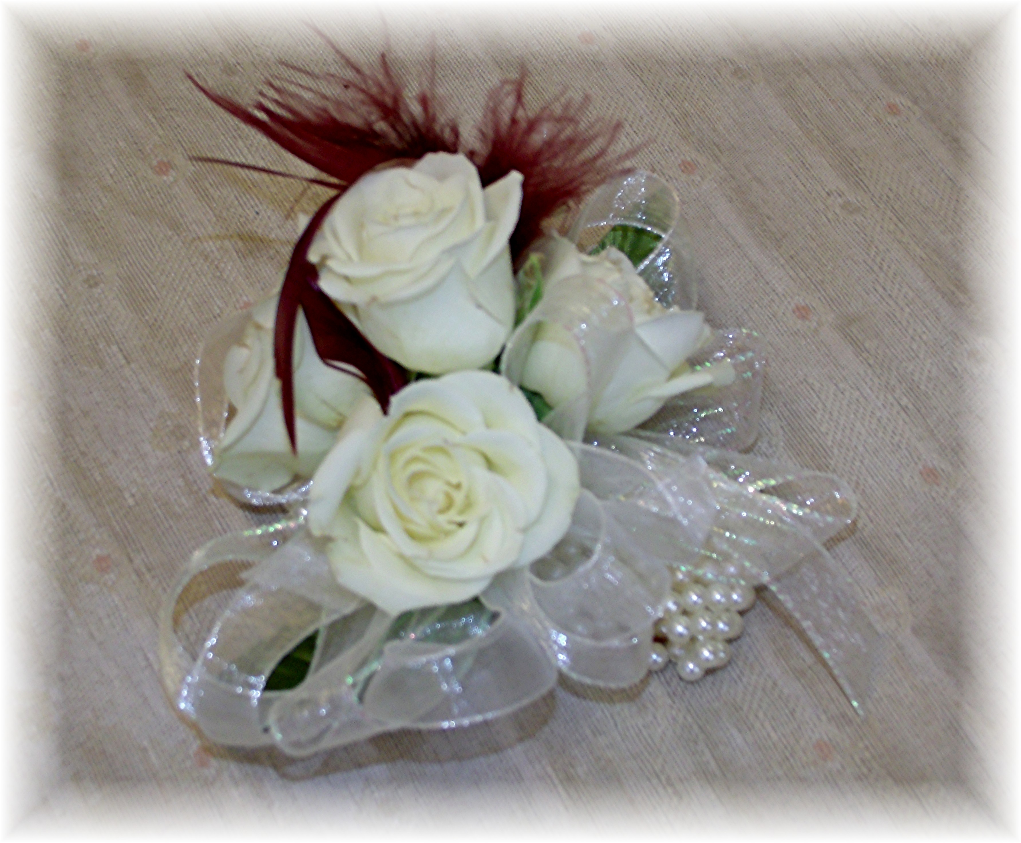 Roses and feathers wristlet