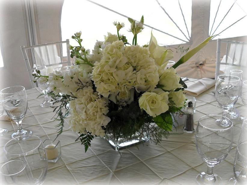Classic centerpiece hydrangea, roses