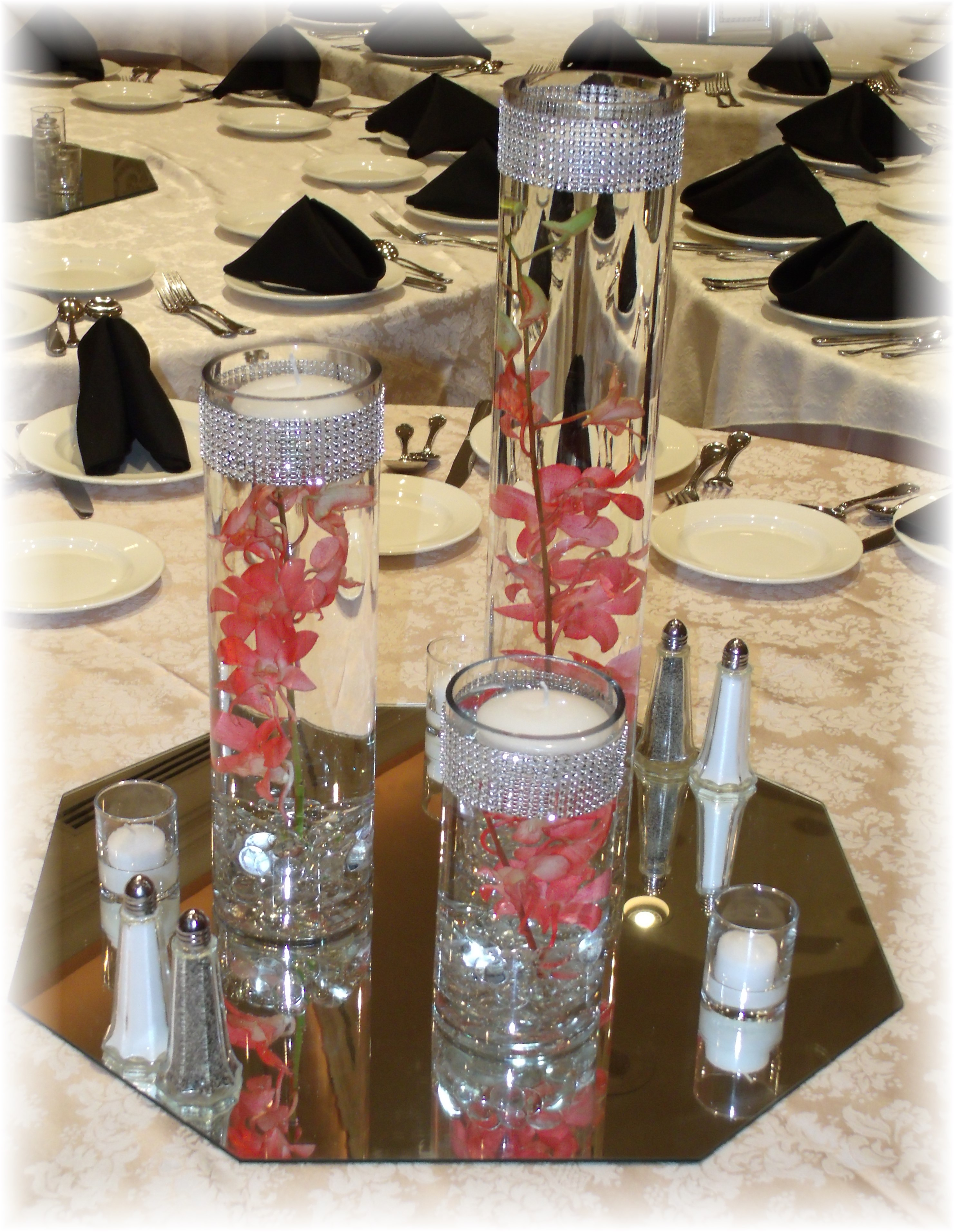 Set of 3 vase centerpiece wedding
