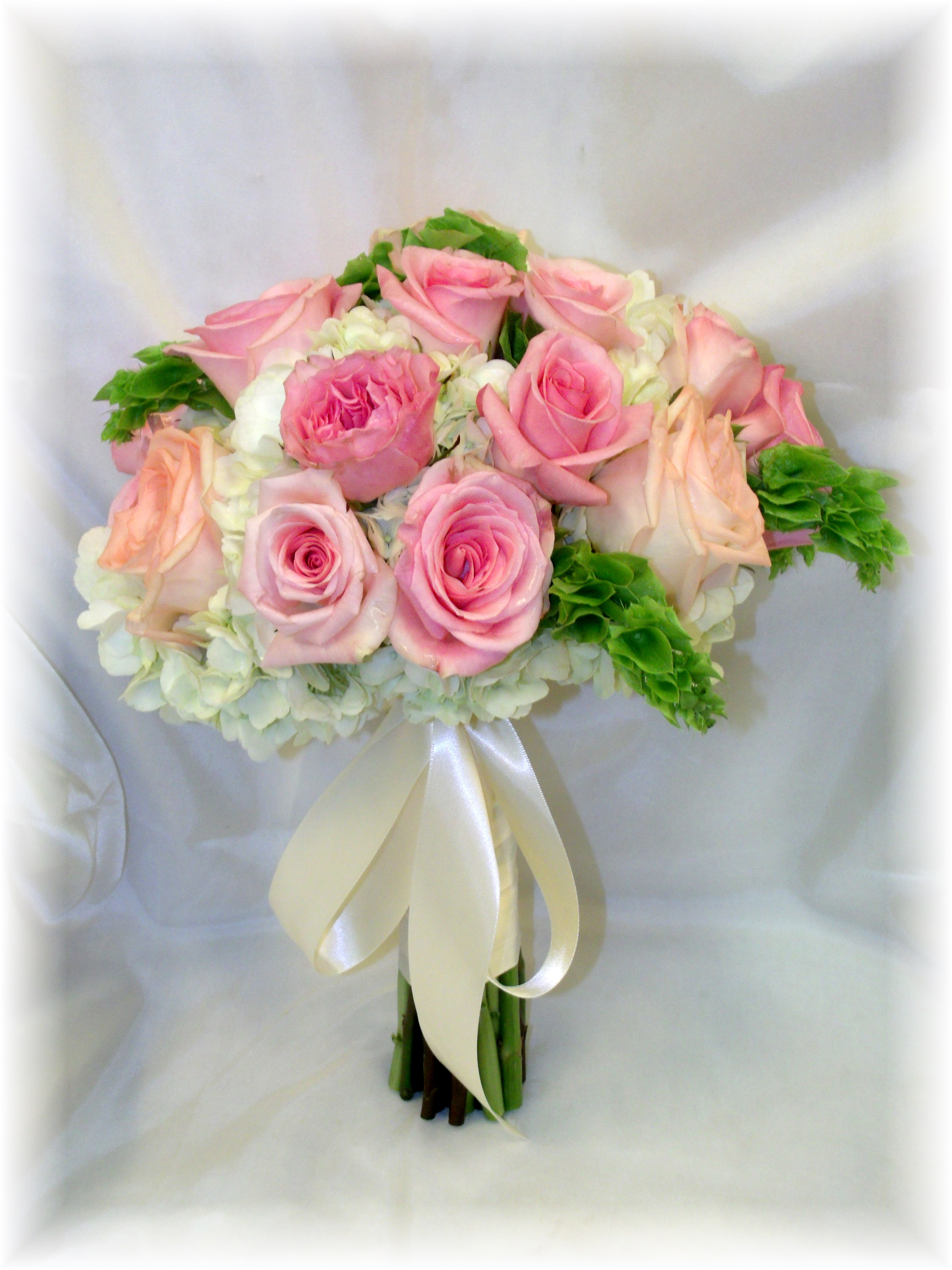 Roses, Hydrangea & Bells of Ireland