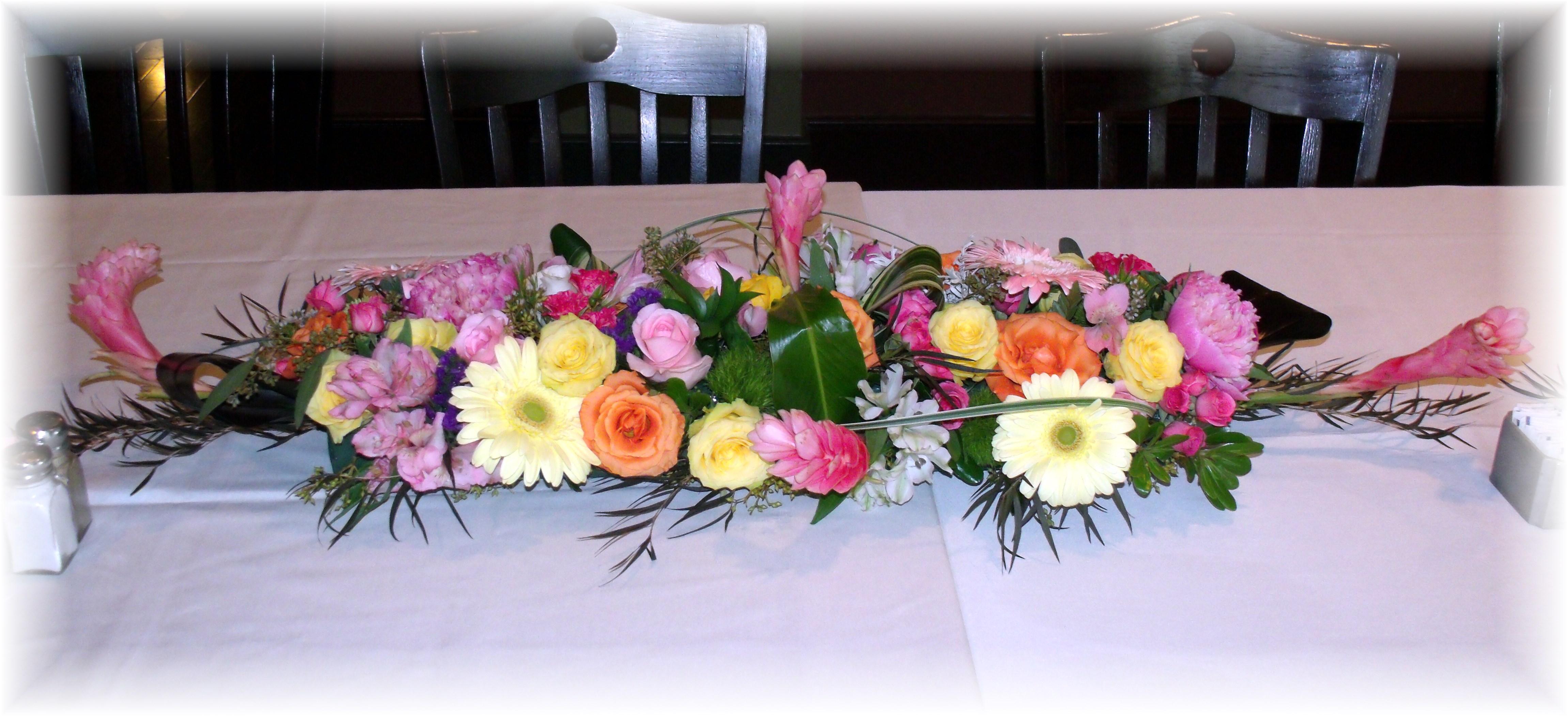 Long & low mixed flower centerpiece