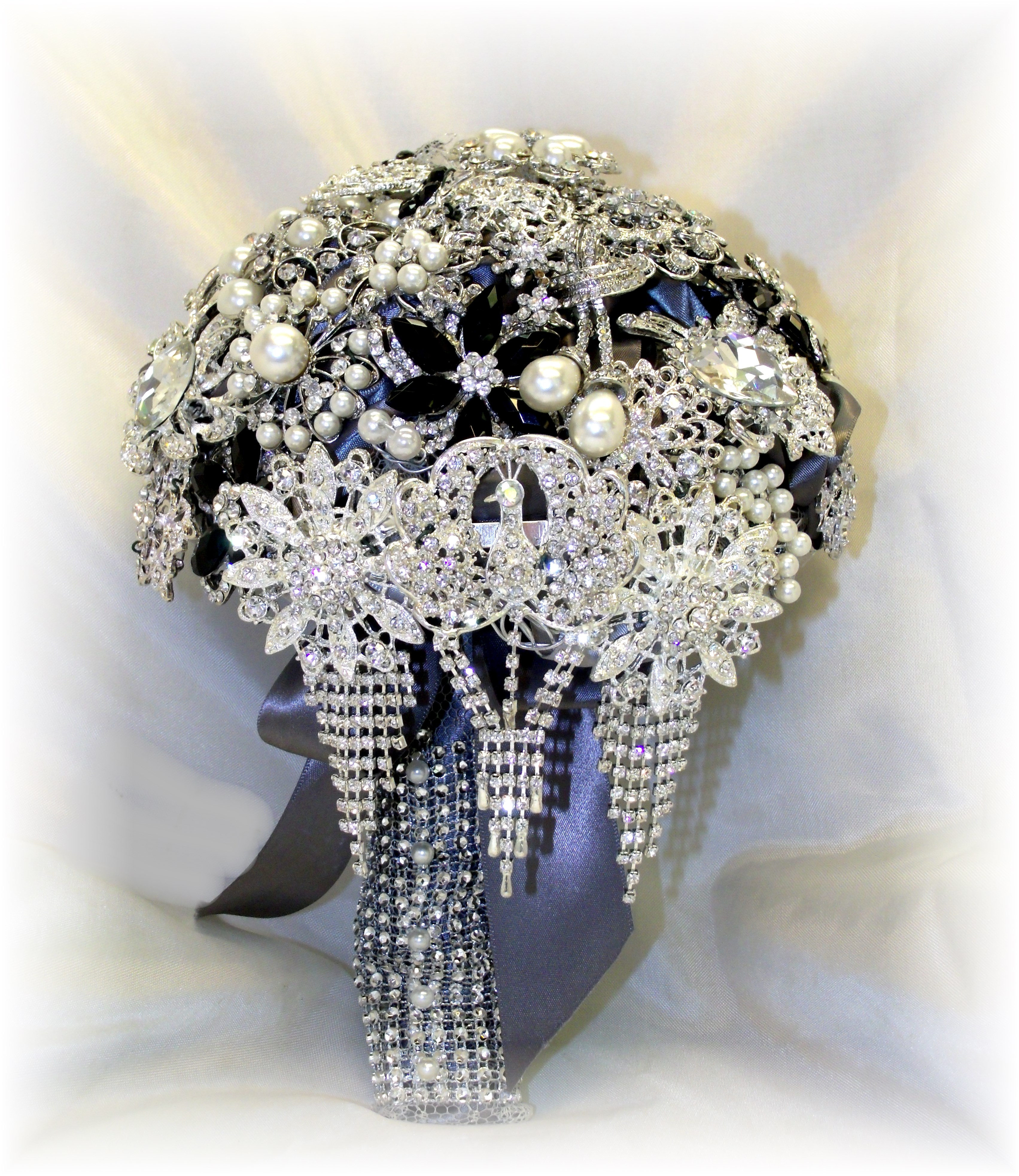 silver & black brooch bouquet