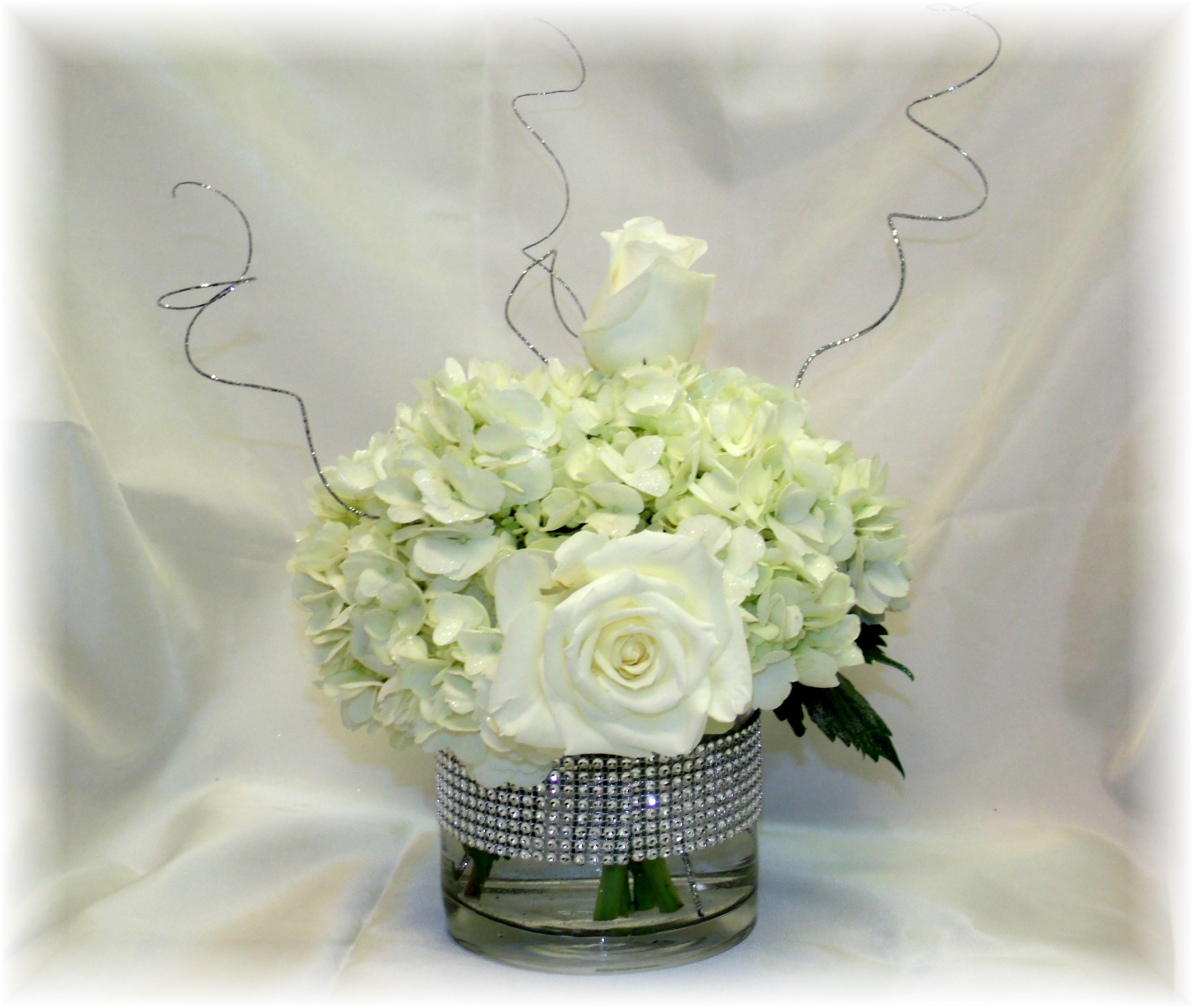 Centerpiece Hydrangea, Rose & Bling!