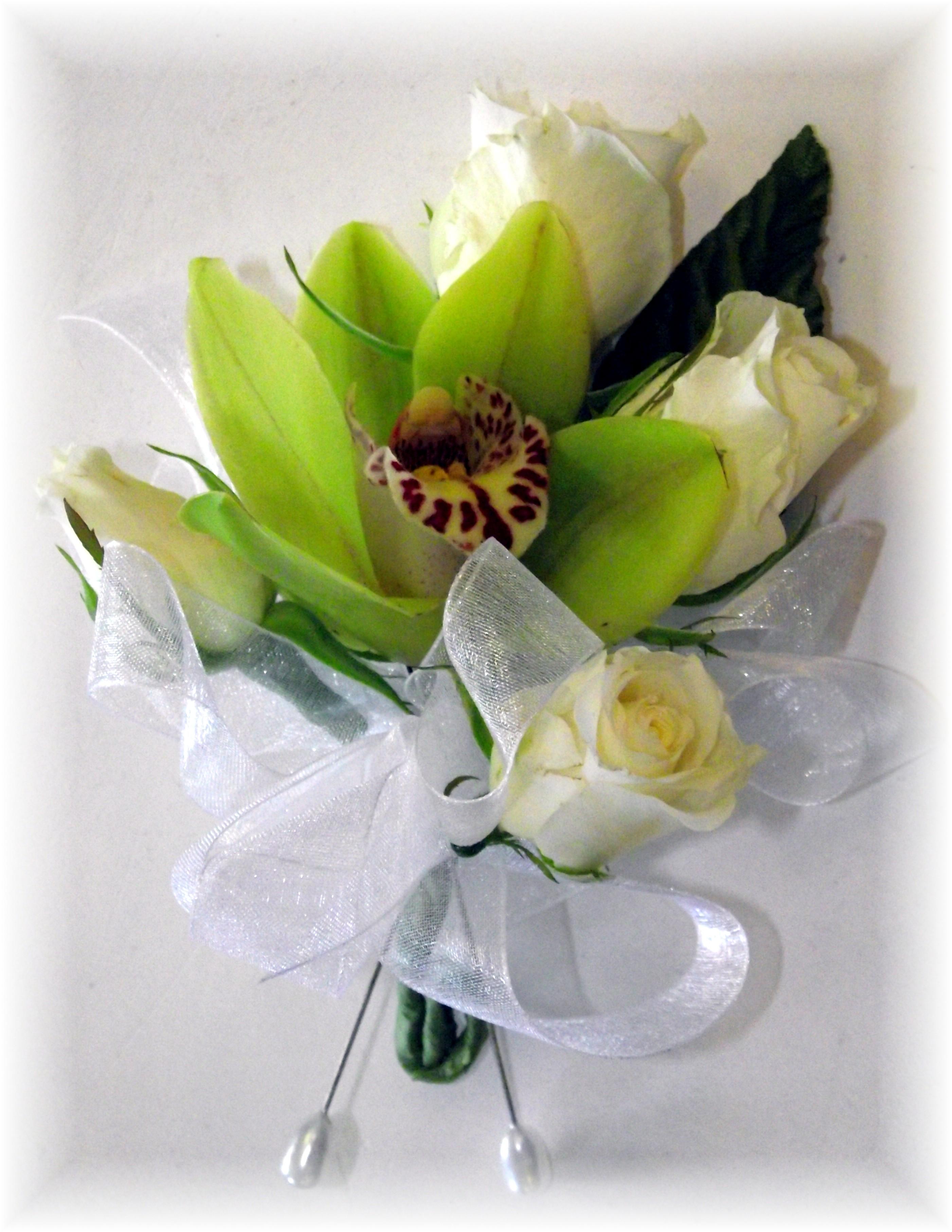 Cymbidium orchid & Rose corsage
