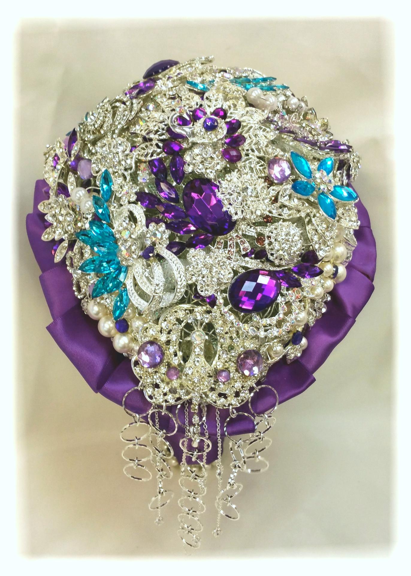 Cascading Purple Blue Brooch Bouquet