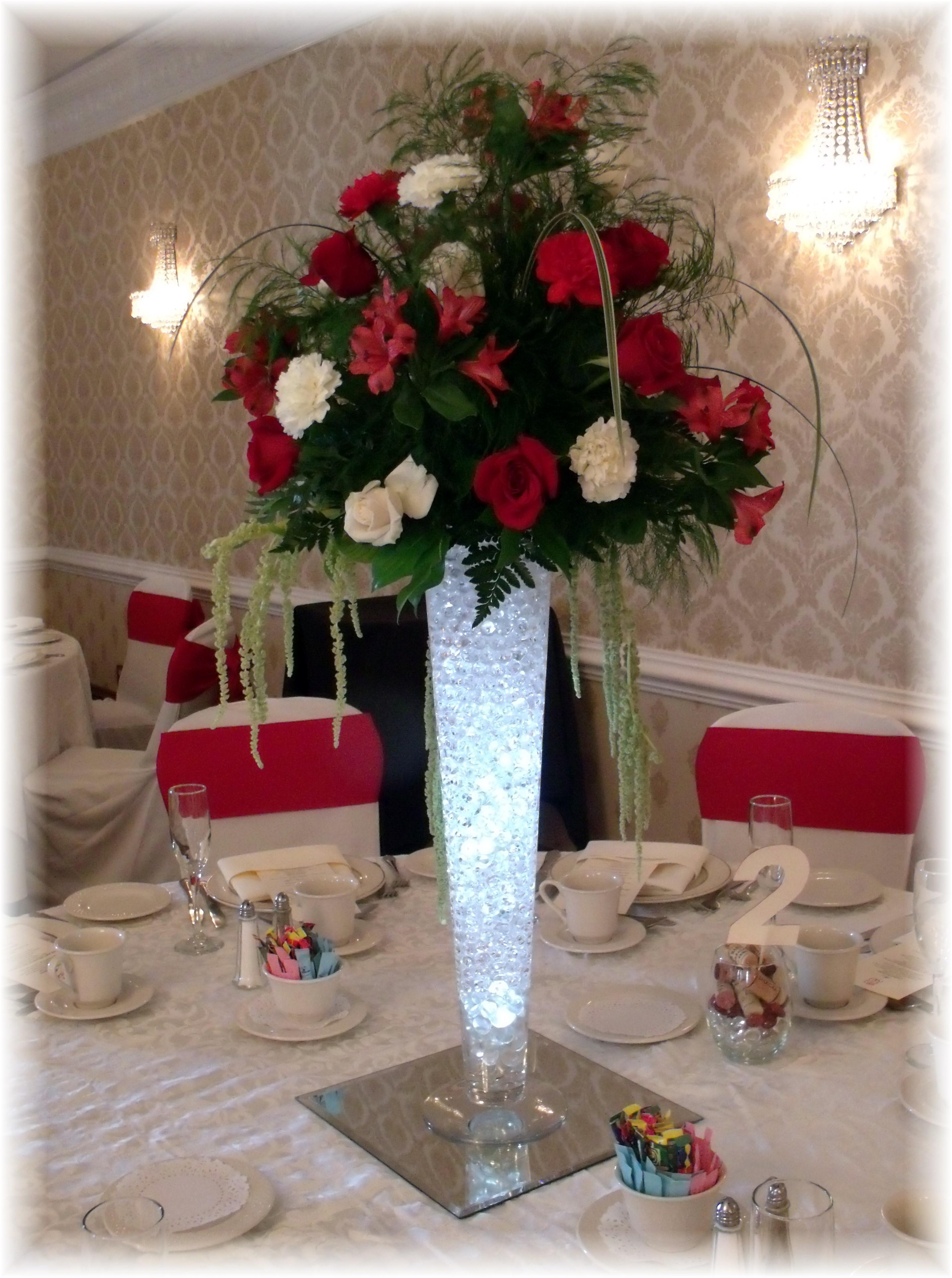 Tall wedding centerpiece roses