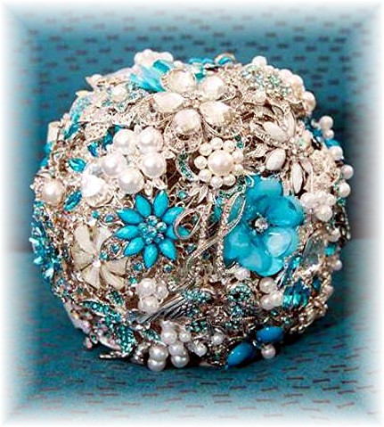 silver & turquoise brooch bouquet