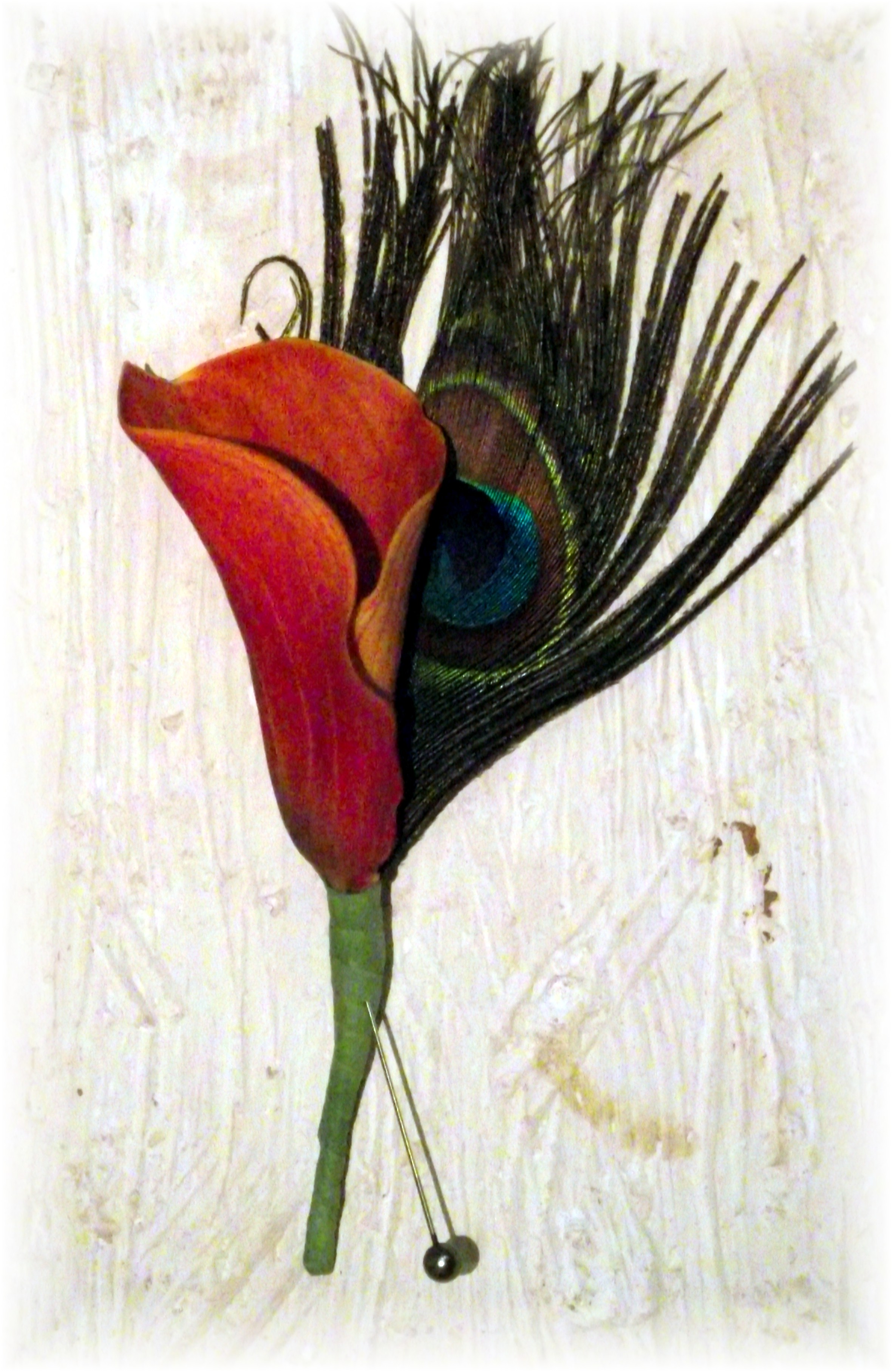 Calla lily & feather boutonniere