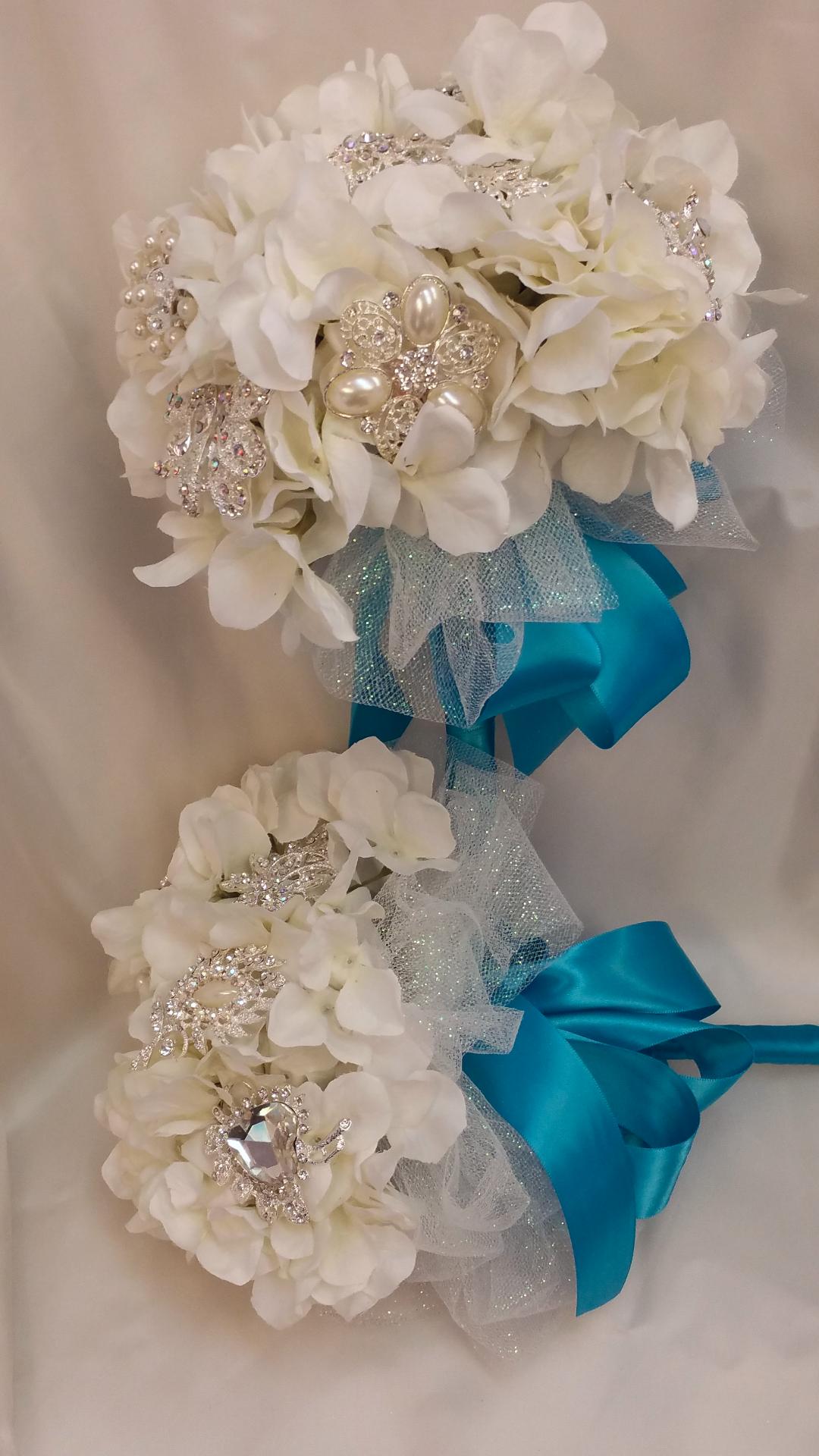 Silk Hydrangea & Brooch Bouquets