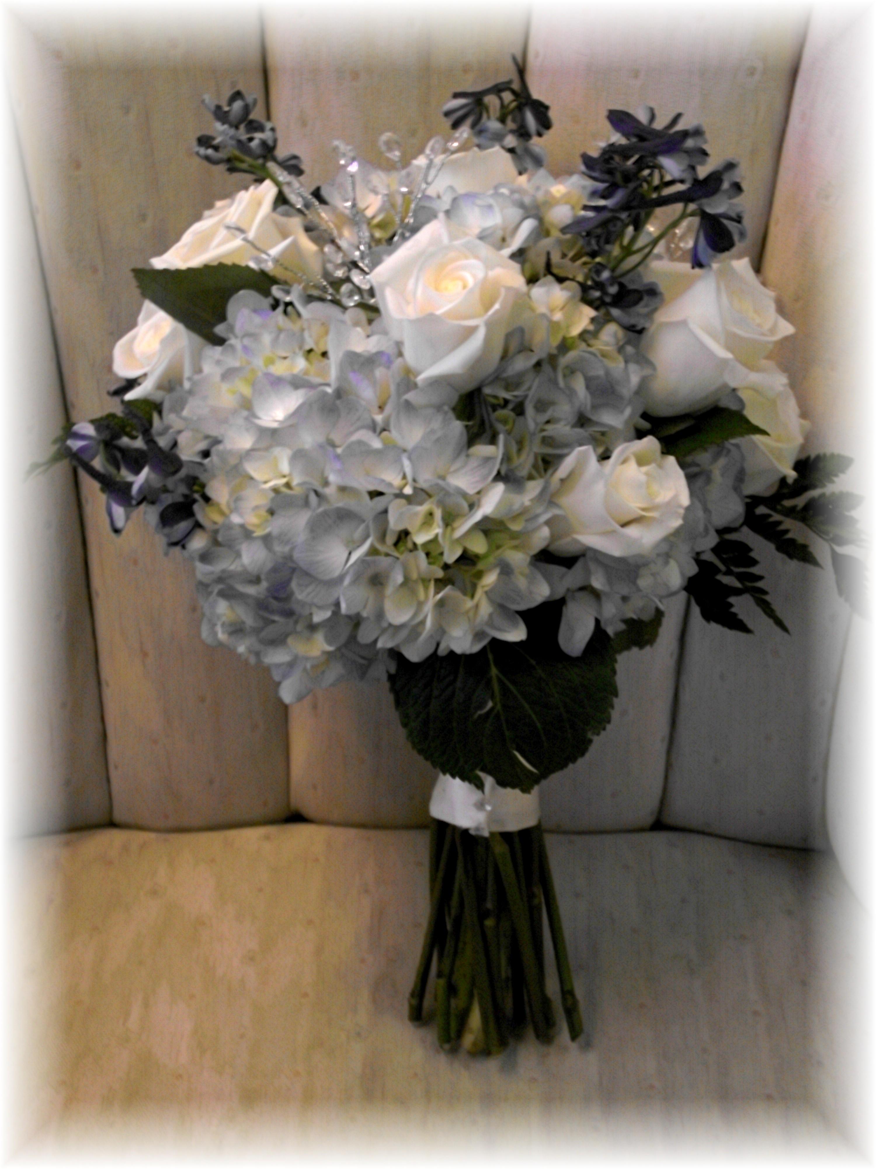 Hydrangea, Roses with Delphinium