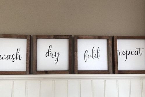 "Laundry Room Schild 4-er Serie ""wash, dry, fold, repeat"" 20x20 cm"