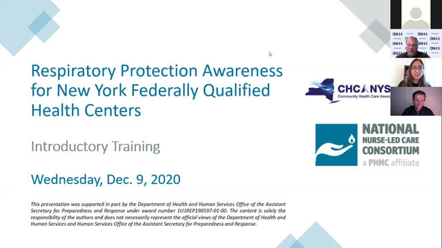 Materials Available: Respiratory Protection Awareness Training for NY Community Health Centers