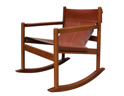 A Gorgeous Safari Sling Rocking Chair By Michel Arnoult Circa 1960u0027s. Brand  New Caramel Leather Highlights The Gorgeous Hardwood Frame Beautifully!