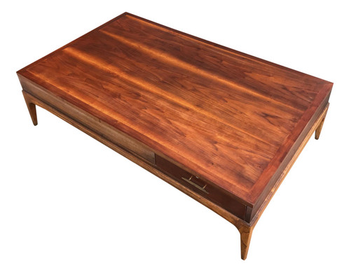 A Simply Stunning Large Low Profile Mid Century Modern Coffee Table By Lane Atavista With Sculptural Legs And Two Sided Drawer Brass Handles