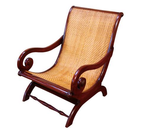 - Antique Mahogany & Cane Plantation Chair