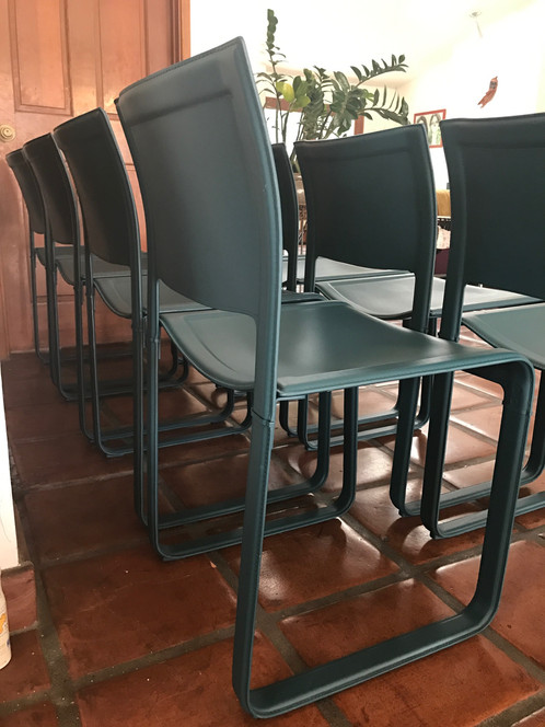 An Ultra Rare Set Of 8 1980u0027s Matteograssi Sistina Strap Leather Dining  Chairs Designed By Tito Agnoli. All 8 Chairs Are In Exceptional Condition  ...