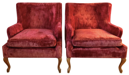 Vibrant pair of antique club chairs from an impressive Boston estate. The  chairs are covered in crimson red crushed velvet upholstery with tufted  backs, ... - Vintage Queen Anne Style Club Chairs Mysite
